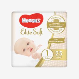 Подгузники Huggies EliteSoft 1 conv (3-5 кг) 25 шт