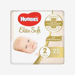 Подгузники Huggies EliteSoft 2 conv (4-6 кг) 25 шт